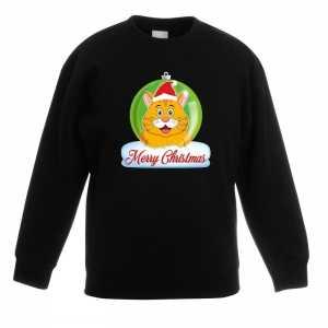 Foute kersttrui merry christmas oranje kat / poes kerstbal zwart kind