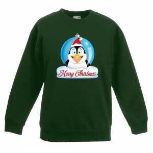 Foute kersttrui merry christmas pinguin kerstbal groen kinderen