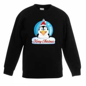 Foute kersttrui merry christmas pinguin kerstbal zwart kinderen
