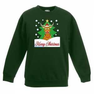 Foute kersttrui merry christmas rendier groen kinderen