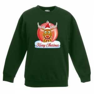 Foute kersttrui merry christmas rendier kerstbal groen kinderen