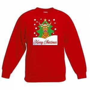 Foute kersttrui merry christmas rendier rood kinderen