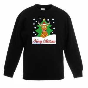 Foute kersttrui merry christmas rendier zwart kinderen