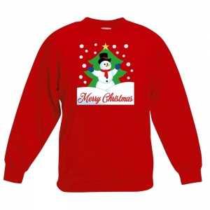 Foute kersttrui merry christmas sneeuwpop rood kinderen