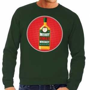 Foute kersttrui merry christmas whiskey groen heren