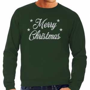 Foute kersttrui merry christmas zilveren glitter letters groen heren