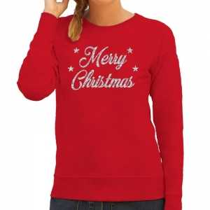 Foute kersttrui merry christmas zilveren glitter letters rood dames
