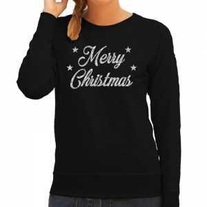 Foute kersttrui merry christmas zilveren glitter letters zwart dames