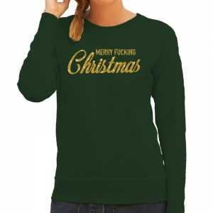Foute kersttrui merry fucking christmas goud glitter groen dames