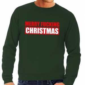 Foute kersttrui merry fucking christmas groen voor heren