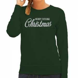 Foute kersttrui merry fucking christmas zilver glitter groen dames
