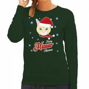Foute kersttrui merry miauw christmas kerst kat groen voor dames