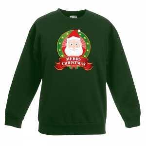 Foute kersttrui met de kerstman groen jongens en meisjes