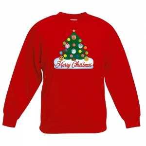 Foute kersttrui met dieren kerstboom rood kinderen