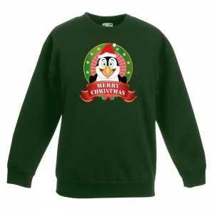 Foute kersttrui met een pinguin groen jongens en meisjes