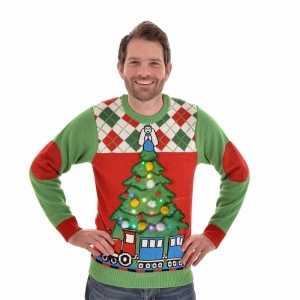 Heren Kersttrui Kopen.Foute Kersttrui Met Licht Tree And Train Voor Mannen Foute Eu