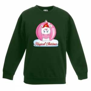 Foute kersttrui met roze eenhoorn kerstbal groen voor meisjes