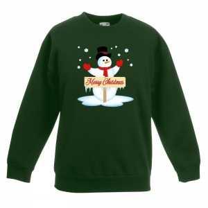 Foute kersttrui met sneeuwpop groen kinderen
