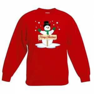 Foute kersttrui met sneeuwpop rood kinderen