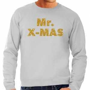 Foute kersttrui mr. x-mas gouden glitter letters grijs heren