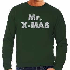Foute kersttrui mr. x-mas zilveren glitter letters groen heren