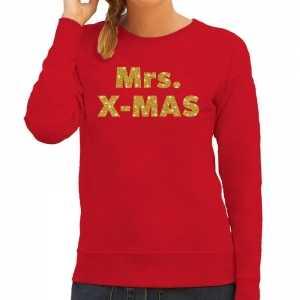 Foute kersttrui mrs. x-mas gouden glitter letters rood dames