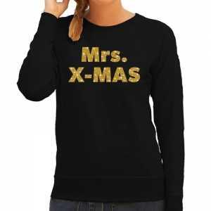 Foute kersttrui mrs. x-mas gouden glitter letters zwart dames