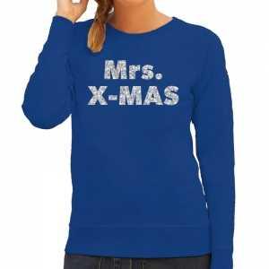 Foute kersttrui mrs. x-mas zilveren glitter letters blauw dames