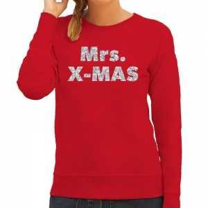 Foute kersttrui mrs. x-mas zilveren glitter letters rood dames