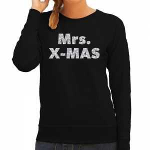 Foute kersttrui mrs. x-mas zilveren glitter letters zwart dames