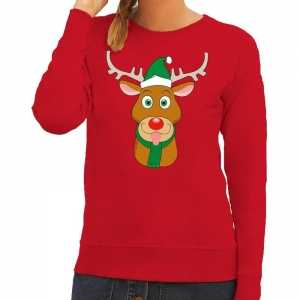Foute kersttrui rendier rudolf met groene kerstmuts rood dames