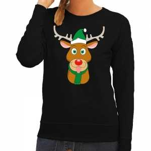 Foute kersttrui rendier rudolf met groene kerstmuts zwart dames