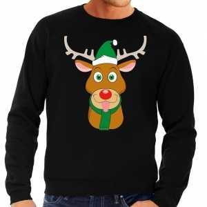 Foute kersttrui rendier rudolf met groene kerstmuts zwart heren