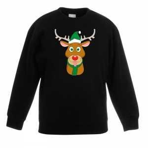 Foute kersttrui rendier rudolf met groene kerstmuts zwart kinderen