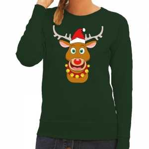 Foute kersttrui rendier rudolf met rode kerstmuts groen dames