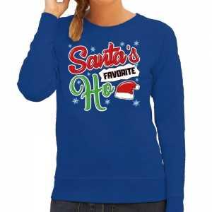 Foute kersttrui santa his favorite ho blauw voor dames