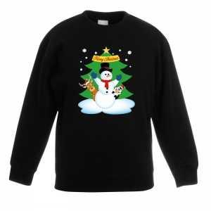 Foute kersttrui sneeuwpop en vriendjes zwart kinderen
