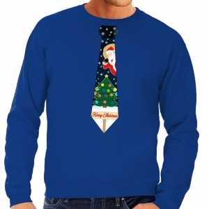 Foute kersttrui stropdas met kerst print blauw voor heren