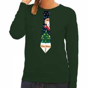 Foute kersttrui stropdas met kerst print groen voor dames