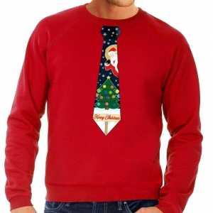 Foute kersttrui stropdas met kerst print rood voor heren