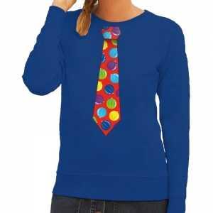 Foute kersttrui stropdas met kerstballen print blauw voor dames