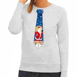 Foute kersttrui stropdas met kerstman print grijs voor dames