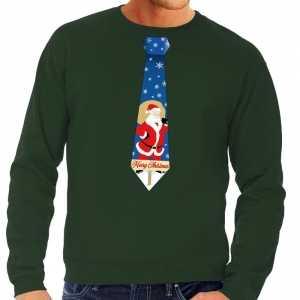 Foute kersttrui stropdas met kerstman print groen voor heren