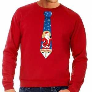 Foute kersttrui stropdas met kerstman print rood voor heren