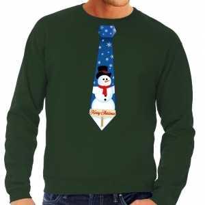 Foute kersttrui stropdas met sneeuwpop print groen voor heren