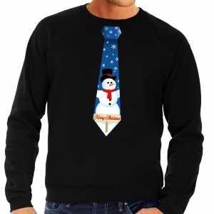 Foute kersttrui stropdas met sneeuwpop print zwart voor heren