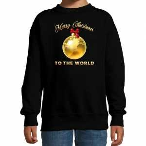Foute kersttrui / sweater merry christmas to the world zwart kinderen