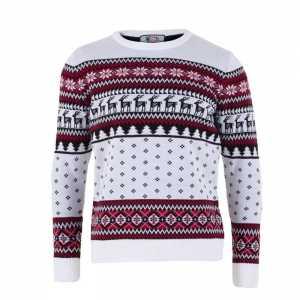 Foute kersttrui voor volwassenen met nordic print wit