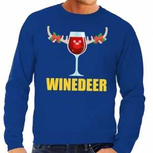Foute kersttrui winedeer blauw voor heren