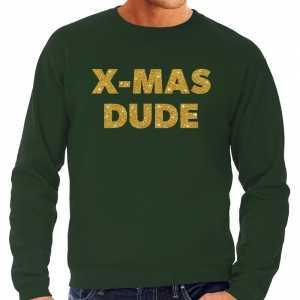 Foute kersttrui x-mas dude gouden glitter letters groen heren